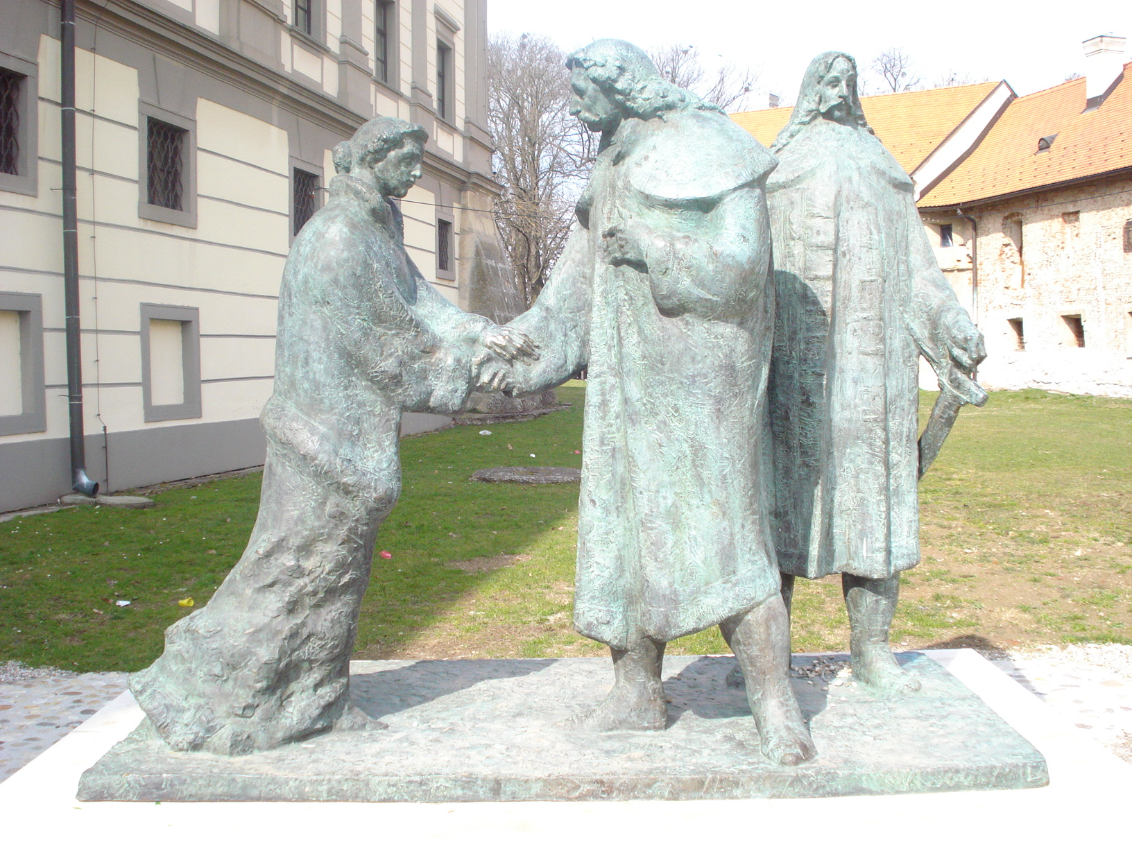 """Spomenik Zrinskima u Čakovcu pod nazivom """"Oproštaj"""" prikazuje odlazak Petra Zrinskog i Frana Krste Frankopana 1670. godine u Beč"""