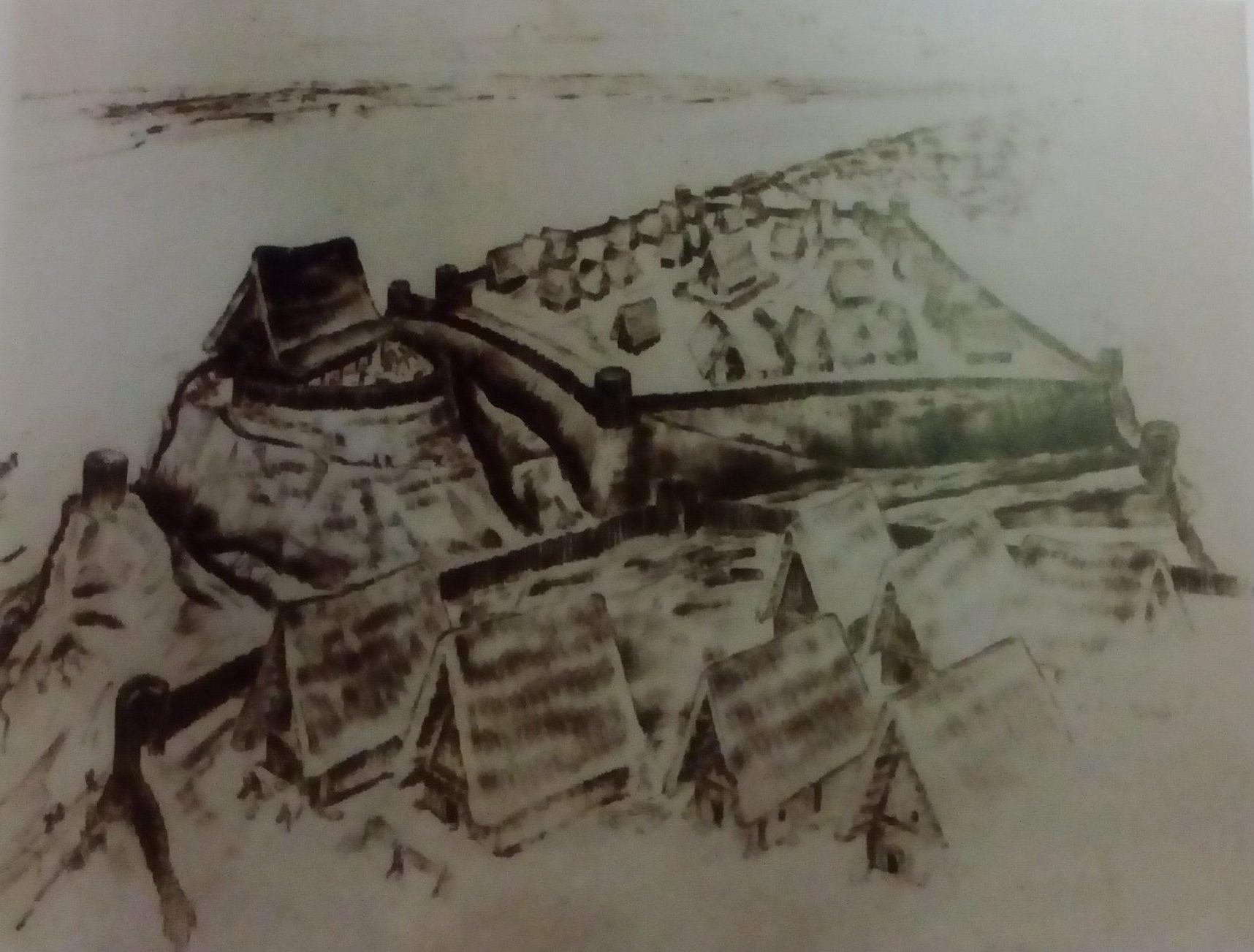 Mogući izgled vučedolskog naselja (J. Brunschmid)
