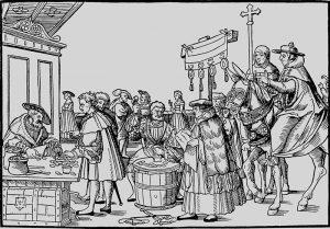 Drvorez prikazuje prodaju oprosta grijeha, oko 1510.