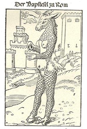 Lucas Cranach d.Ä. den Papst als einen Esel ansah (1523)